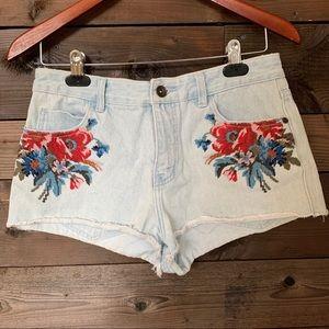Element Floral Denim Shorts